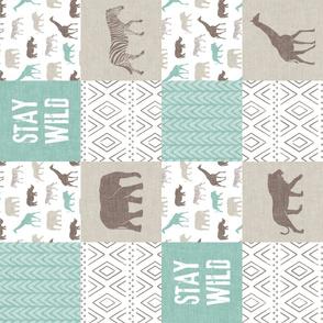 Stay Wild - Safari Wholecloth - Dark Mint & Brown  (90)
