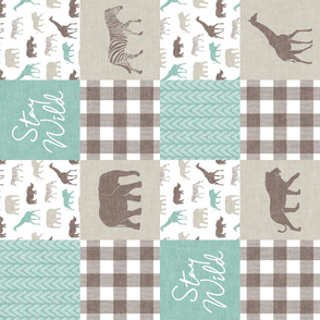 Stay Wild - Safari Wholecloth - Dark Mint w/ plaid