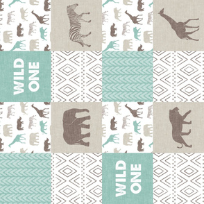 Wild One - Safari Wholecloth - Dark Mint and Brown (90)