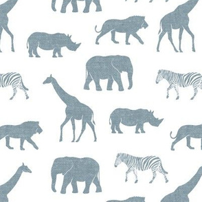 Safari animals - dusty blue - elephant, giraffe, rhino, zebra