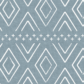 Safari Wholecloth Diamonds on Dusty Blue - farmhouse diamonds - mud cloth fabric