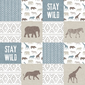 Stay Wild - Safari Wholecloth - Dusty blue and brown