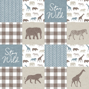 Stay Wild - Safari Wholecloth - Dusty Blue w/ plaid