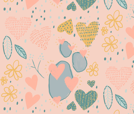 Hearts on My Sleeves fabric by ayla_wednesday on Spoonflower - custom fabric