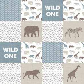 Wild One- Safari Wholecloth - Dusty blue and brown