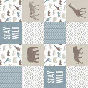 Stay Wild - Safari Wholecloth - Dusty blue and brown (90)