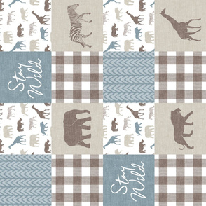 Stay Wild - Safari Wholecloth - Dusty Blue w/ plaid (90)