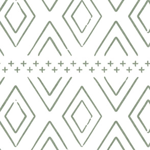 Safari Wholecloth Diamonds in Sage  - farmhouse diamonds - mud cloth fabric