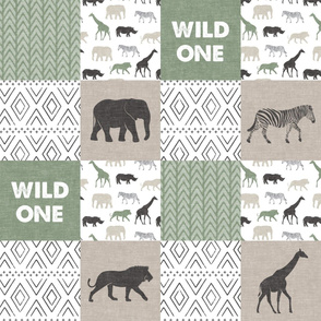 Wild One - Safari Wholecloth - Sage and Grey