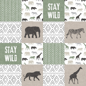 Stay Wild  - Safari Wholecloth - Sage and Grey