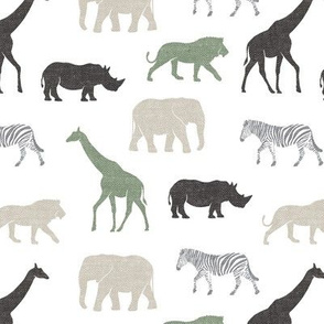 Safari animals - multi sage - elephant, giraffe, rhino, zebra