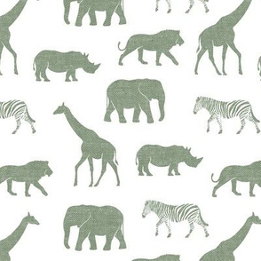 Safari animals - sage - elephant, giraffe, rhino, zebra