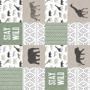 Stay Wild  - Safari Wholecloth - Sage and Grey (90)