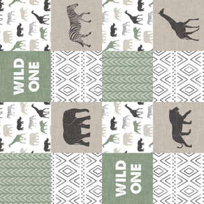 Wild One- Safari Wholecloth - Sage and Grey (90)