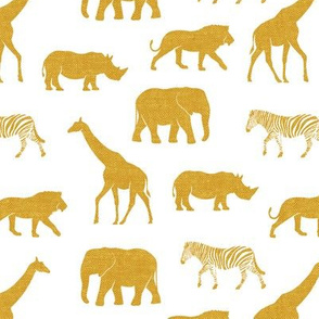 Safari animals - gold - elephant, giraffe, rhino, zebra