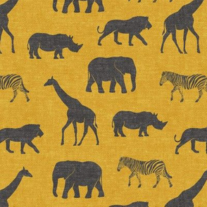 Safari animals - dark grey on gold - elephant, giraffe, rhino, zebra