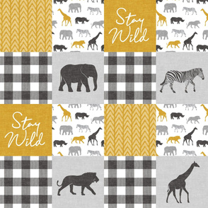 Stay Wild - Safari Wholecloth - Mustard w/ plaid