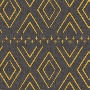 Safari Wholecloth Diamonds mustard on grey - farmhouse diamonds - mud cloth fabric
