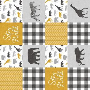 Stay Wild - Safari Wholecloth - Mustard w/ plaid (90)
