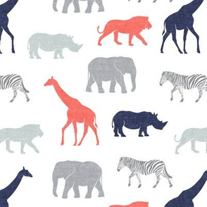 Safari animals - coral, blue, and grey - elephant, giraffe, rhino, zebra