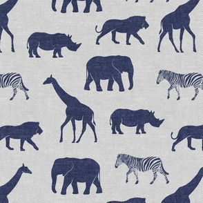 Safari animals - blue on grey - elephant, giraffe, rhino, zebra