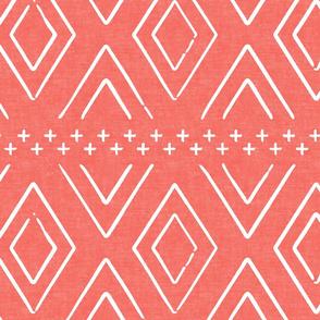 Safari Wholecloth Diamonds on Coral  - farmhouse diamonds - mud cloth fabric