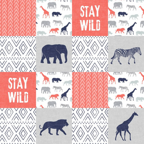 Stay Wild - Safari Wholecloth - Coral