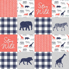 Stay Wild - Safari Wholecloth - Coral w/ plaid