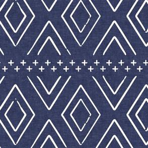Safari Wholecloth Diamonds on blue - farmhouse diamonds - mud cloth fabric