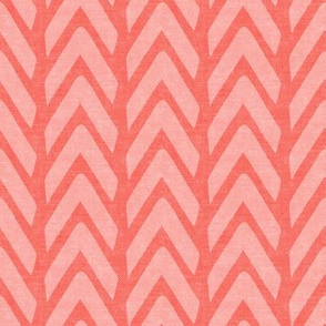 Organic Chevron - Safari Wholecloth Coral coordinate