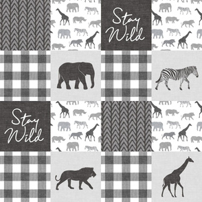 Stay Wild - Safari Wholecloth - monochrome w/ plaid