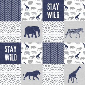 Stay Wild - Safari Wholecloth - Navy