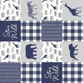Stay Wild - Safari Wholecloth - Navy w/ plaid (90)