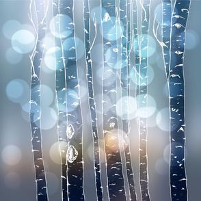 Big Glitter Bokeh Birches Blue