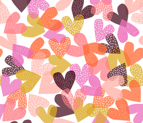confetti hearts_jumbo fabric by melanie_jane_designs on Spoonflower - custom fabric