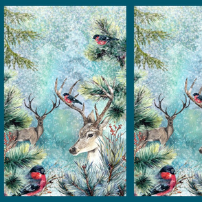 DEERS AND BULFINCH WINTER SNOW FOREST TURQUOISE FRAMED FLWRHT