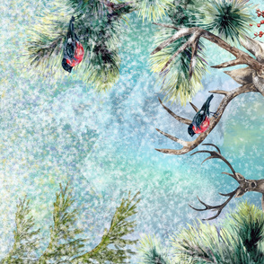 Yard Panel DEERS AND BULFINCH WINTER SNOW FOREST TURQUOISE HORIZONTAL