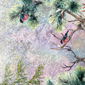 yard panel DEERS AND BULFINCH WINTER SNOW FOREST PINK HORIZONTAL watercolor