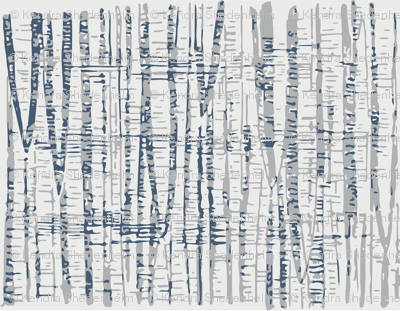 Abstract Woodland Landscape in Blue and Gray