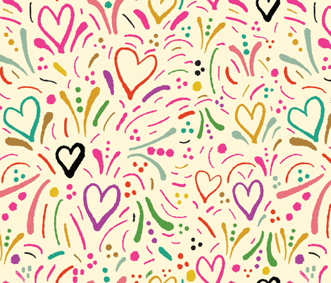 Painted Hearts - Pink Black Blue Green fabric by sweetgrasspaperco on Spoonflower - custom fabric