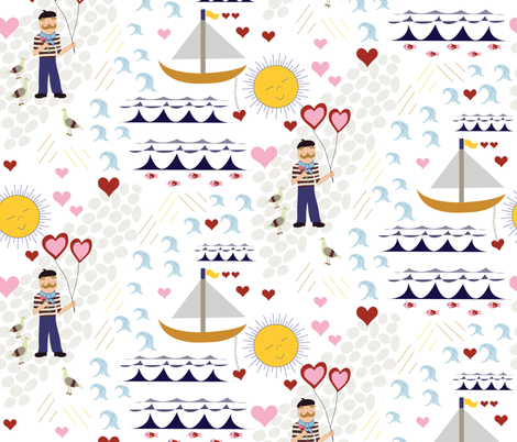 sailor boy in love fabric by prairie_owl_designs on Spoonflower - custom fabric