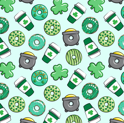 (small scale) Saint Patricks Day Donuts & Coffee  - green on mint C18BS fabric by littlearrowdesign on Spoonflower - custom fabric