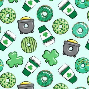 (small scale) Saint Patricks Day Donuts & Coffee  - green on mint C18BS