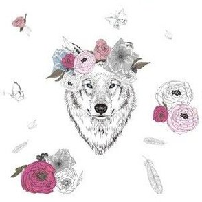 "6"" Girl Wolf with Flowers"