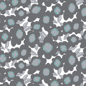 Large Gray, Teal Blue & White Floral
