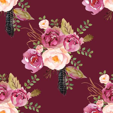 "8"" Hello Beautiful Dark Pink Flowers - Darkest Pink fabric by shopcabin on Spoonflower - custom fabric"