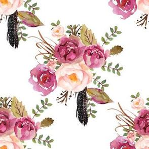 """8"""" Hello Beautiful Dark Pink Flowers White"""