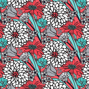 Jumbo Floral Pattern in Aqua, White and Coral Red