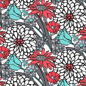 Jumbo Retro Floral in Red, White, Blue & Grays