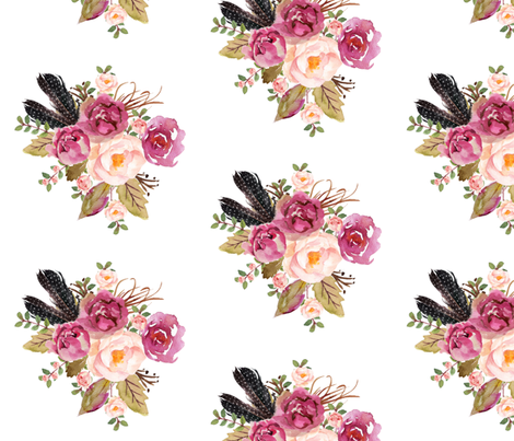 "8"" Hello Beautiful Dark Pink Flowers Version 2 White fabric by shopcabin on Spoonflower - custom fabric"